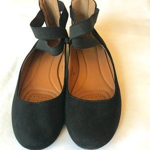 Black Ballet Flats with Criss Cross Straps